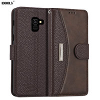IDOOLS Case For Samsung Galaxy A8 2018 A530F Wallet Luxury Flip PU Leather Phone Back Cover