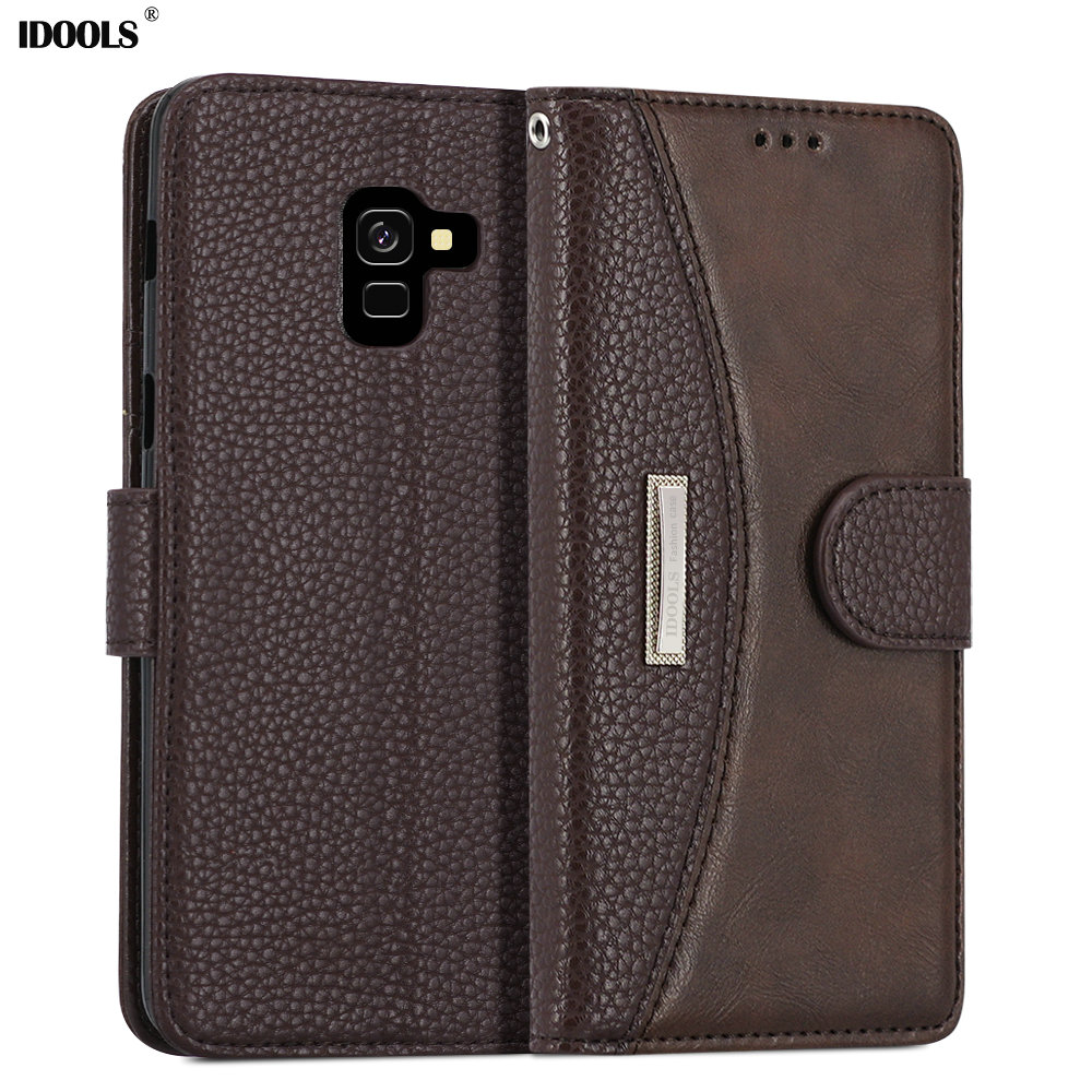 IDOOLS Case For Samsung galaxy A8 2018 A530F Wallet Luxury Flip PU Leather Phone Back Cover Bags Cases For Samsung A8 Plus A730F