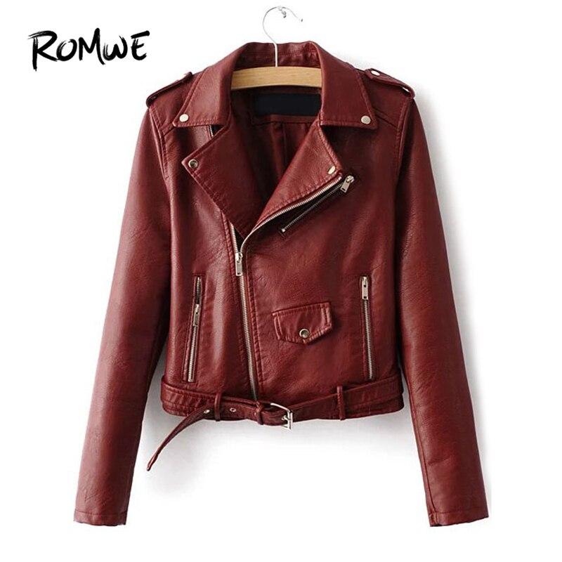 ROMWE de cuero hebilla de cinturón bajo Moto Borgoña chaqueta casuales de las mujeres giro-abajo Collar de otoño cremallera Rock simple abrigo