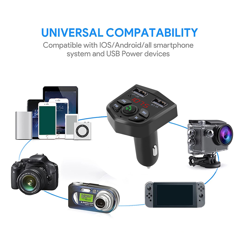Image 5 - Bluetooth 5.0 Car Kit Handsfree Wireless Bluetooth FM Transmitter Car MP3 Player 3.1A Quick Charging Dual USB Charger TF Card Z2-in Bluetooth Car Kit from Automobiles & Motorcycles