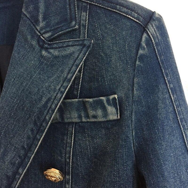 Feamle col rabattu bouton d'or Denim Jacekt mode Double boutonnage Streetwear survêtement Slim bureau dame Jeans manteaux - 4