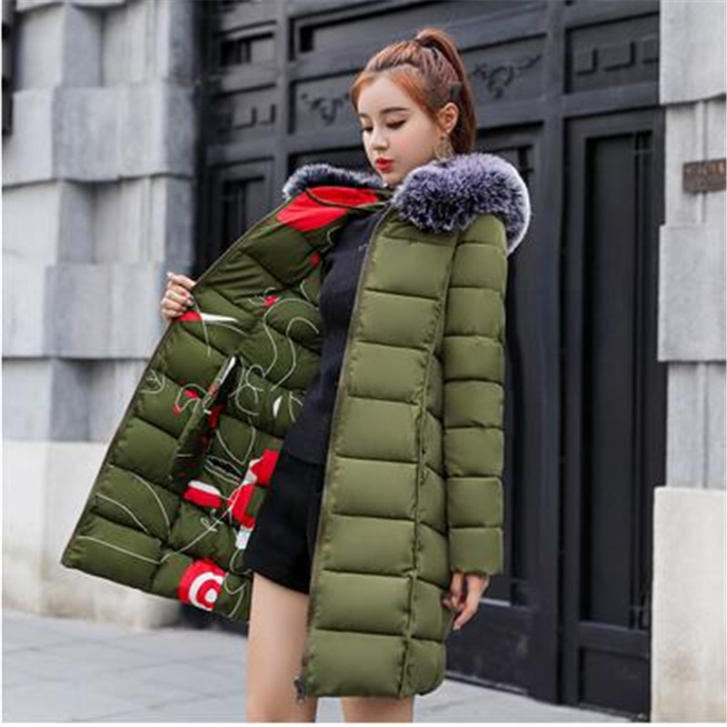 2018 Both Side Wear Women Cotton Winter Jacket Long   Parka   Thick Cotton Padded Winter Coat Ladies Women   Parkas   2712