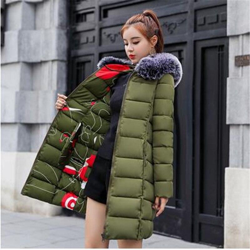 2018 Les Deux Côté Porter Femmes Coton D'hiver Veste Longue Parka Épais Coton Rembourré Manteau D'hiver Dames Femmes Parkas 2712