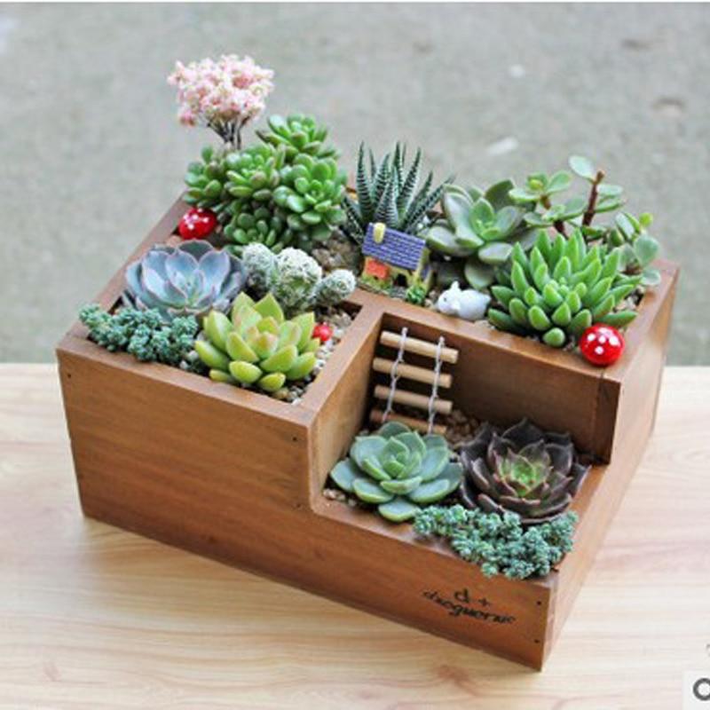 Small Cute Rectangular Orchids Cacti Clay Bonsai Upside
