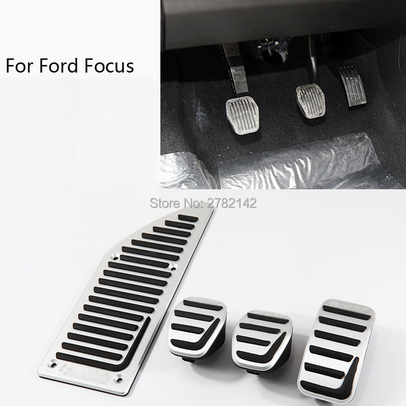 Car-styling Pedal Cover Fuel Gas Brake Foot Rest Housing No Drilling For Ford Focus MT 2008-2017 brand new 4pcs aluminium non slip foot rest fuel gas brake pedal cover for audi q5 mt 2010 2016