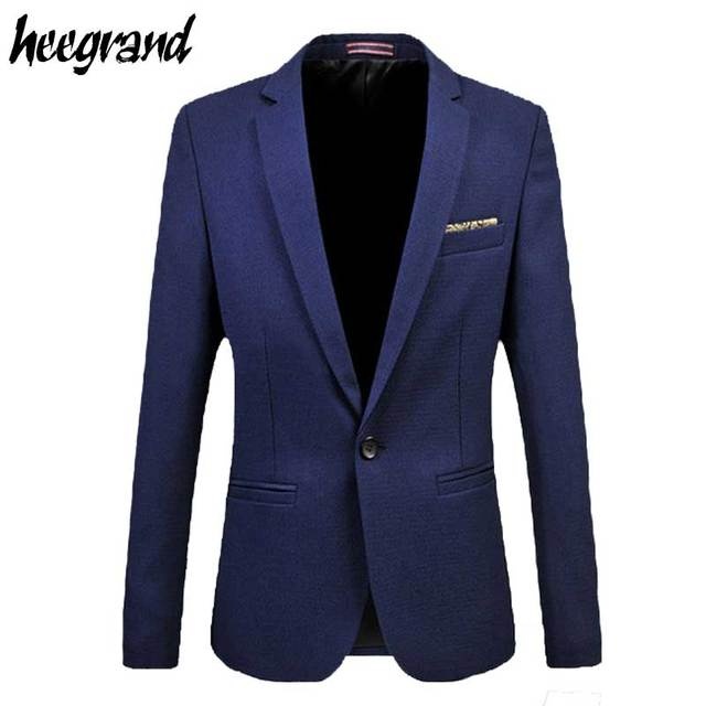 Mens Blazers 2016 New Arrival Slim One Button Solid Black&Blue England Style Joker Hot Sale Men Suit Blazer Masculino MWX259