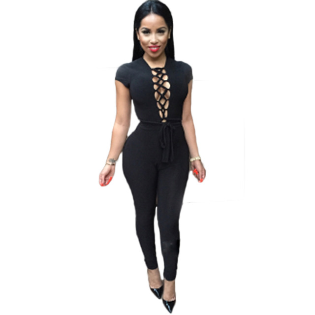 fb6b30fd4ed Macacao Feminino Female Black Rompers Womens black Bandage Jumpsuit Sexy  Bodycon One Piece Jumpsuits Overalls For Women