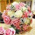 Barato 2016 Accesorios de La Boda Ramo de Novia Rosa Rojo Púrpura Artificial Flores de La Boda del Buque De Noiva Compras En Línea