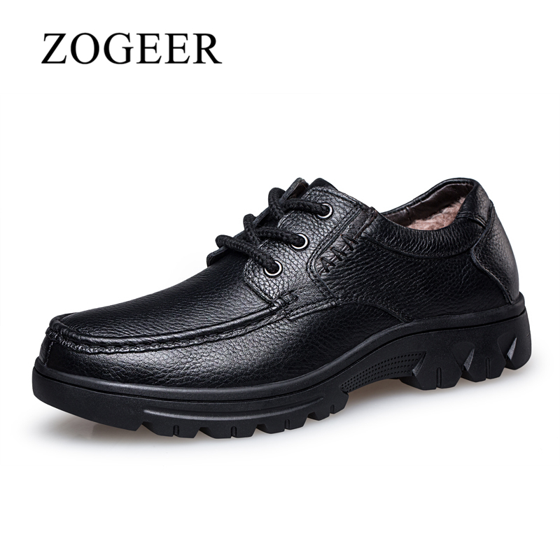 ZOGEER Plus Size 38-50 Genuine Leather Men Shoes, Black Business Formal Men's Dress Shoes, Lace Winter With Fur Oxfords For Man skp136 custom made goodyear 100% genuine leather handmade oxfords shoes men s handcraft dress formal shoes large plus size
