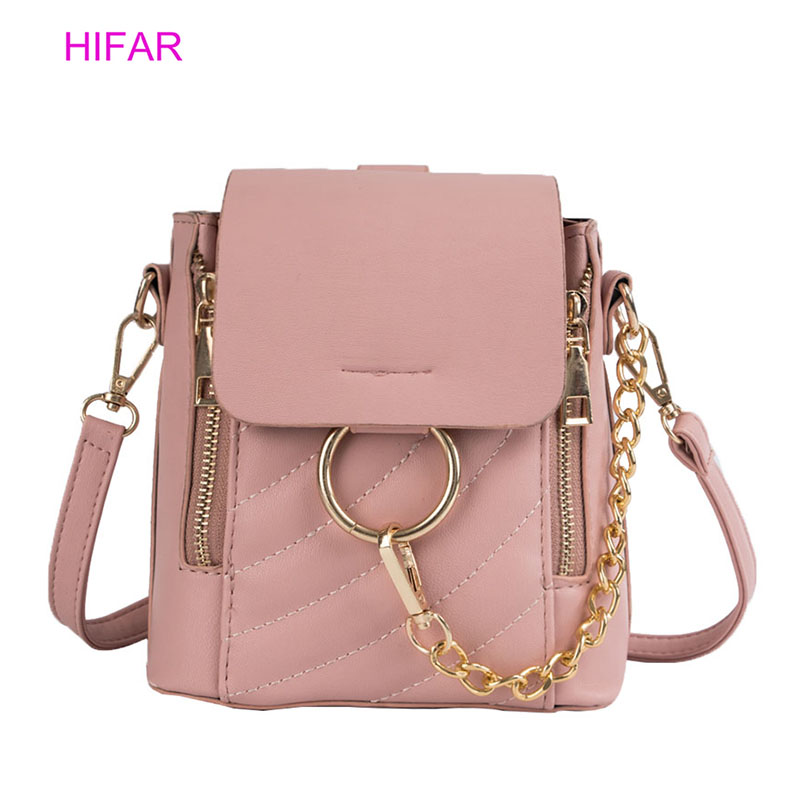 HIFAR Solid Color Backpack Female Luxury Brand Designed Mini Round Ring Schoolbag PU Leather Women 2019 New