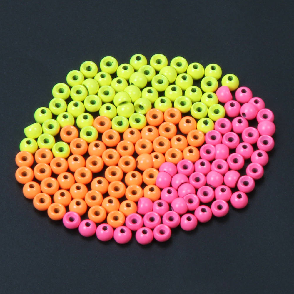 Orange Yellow Pink Bead Tungsten Fly Tying Beads Fly Fishing Nymph Head Ball Beads 50pcs / lot ugob77 200pcs lot 4mm 6mm premium orange color oval soft sinking luminous beads elastic fishing glow fluorescent bead top grade