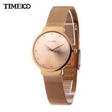 Time100 Kadınlar kuvars saatler Analog ultra ince Durumda Örgü Kemer Kayışı Iş Rahat kol saati Relogio Masculino Reloj Mujer
