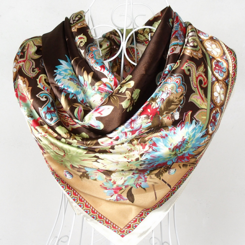 2015 New Style Female Satin Red Big Square Silk Scarf Printed,Hot Sale Women Coffee Silk Scarf Wraps For Summer,Autumn 90*90cm