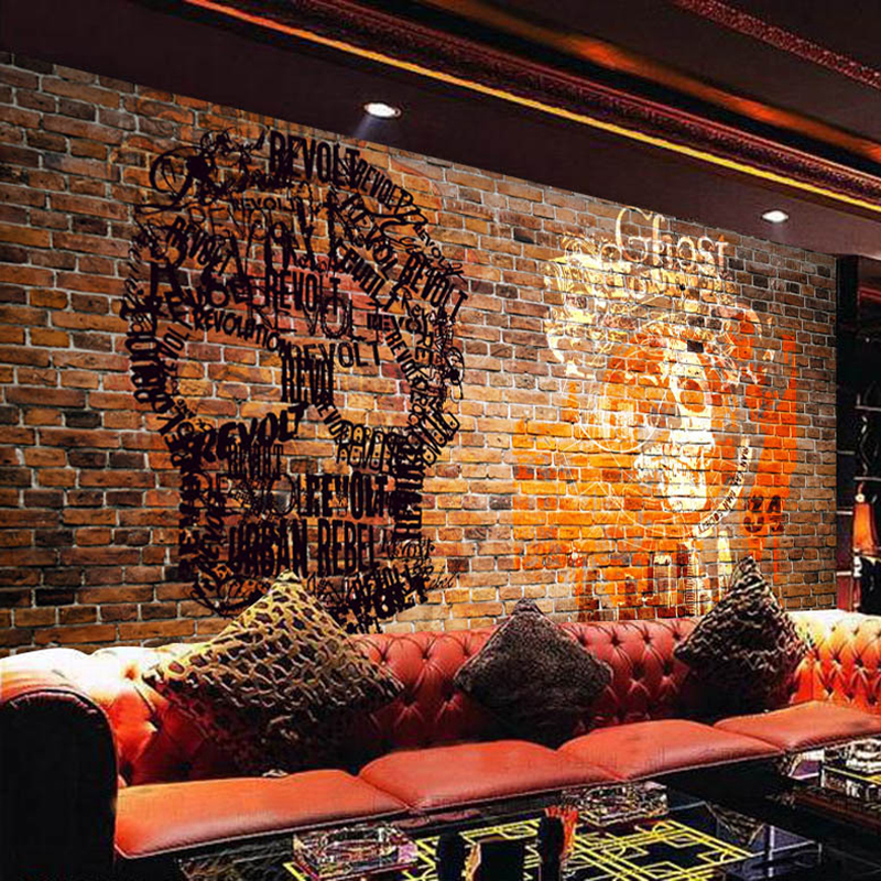 Custom 3D Wall Murals Wallpaper European Style Retro Graffiti People Head Brick Wall Background Art Wallpaper Mural De Parede 3D marilyn monroe retro wallpaper custom european style movie star настенная панно для постельных принадлежностей