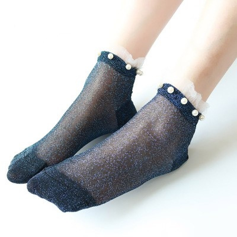 2018 Summer Fashion Female Socks Womens Silver Silk Pearl Socks Ladies Crystal Calcetines Crystal Short Socks Thin Crystal Socks