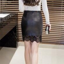 2018 Autumn Women Black Lace PU Leather Skirt Large Size Mini Short Female Pencil Skirt Bodycon  Patchwork Office Lady Skirts