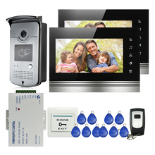 FREE SHIPPING NEW 7″ Touch Button Video Intercom Door Phone System 2 Monitors + Waterproof RFID Reader Door bell Camera + Remote