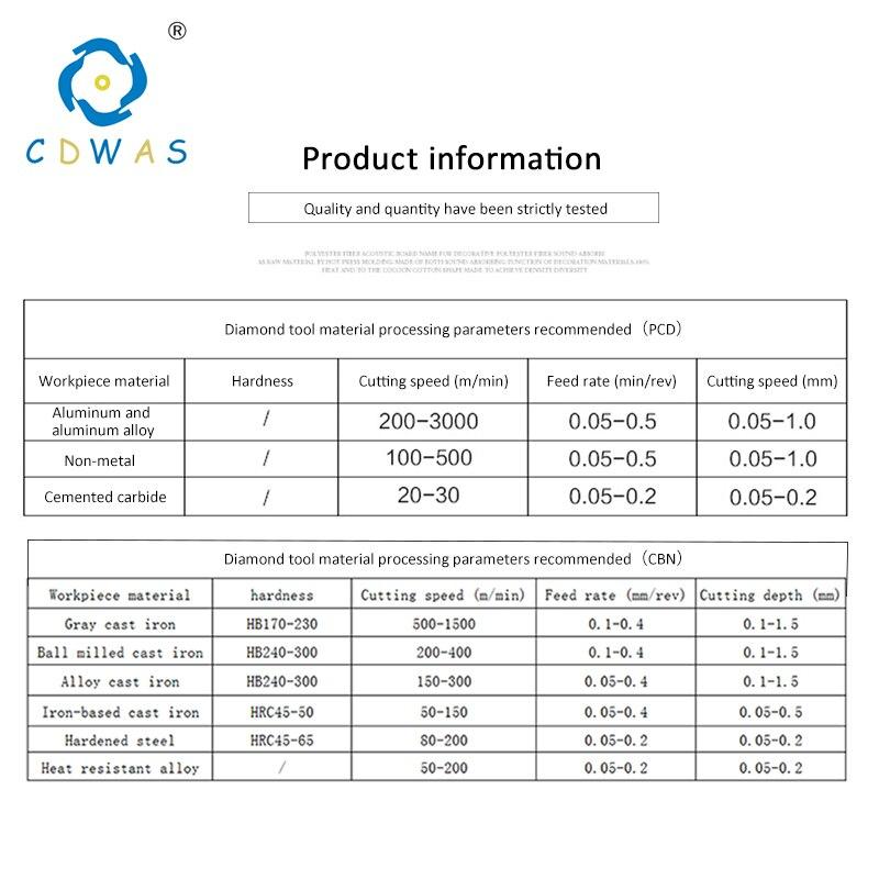 Купить с кэшбэком TCGT16T302 TCGT16T304 TCGT 16T308 PCD CBN Diamond Inserts Internal Turning Tool CNC Lathe Cutter Tool High Quality Blade
