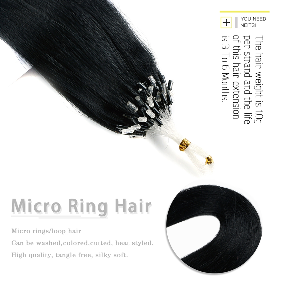 Neitsi Straight Indian Loop Micro Ring Hair 100% Human Micro Bead - Menneskehår (hvid) - Foto 5