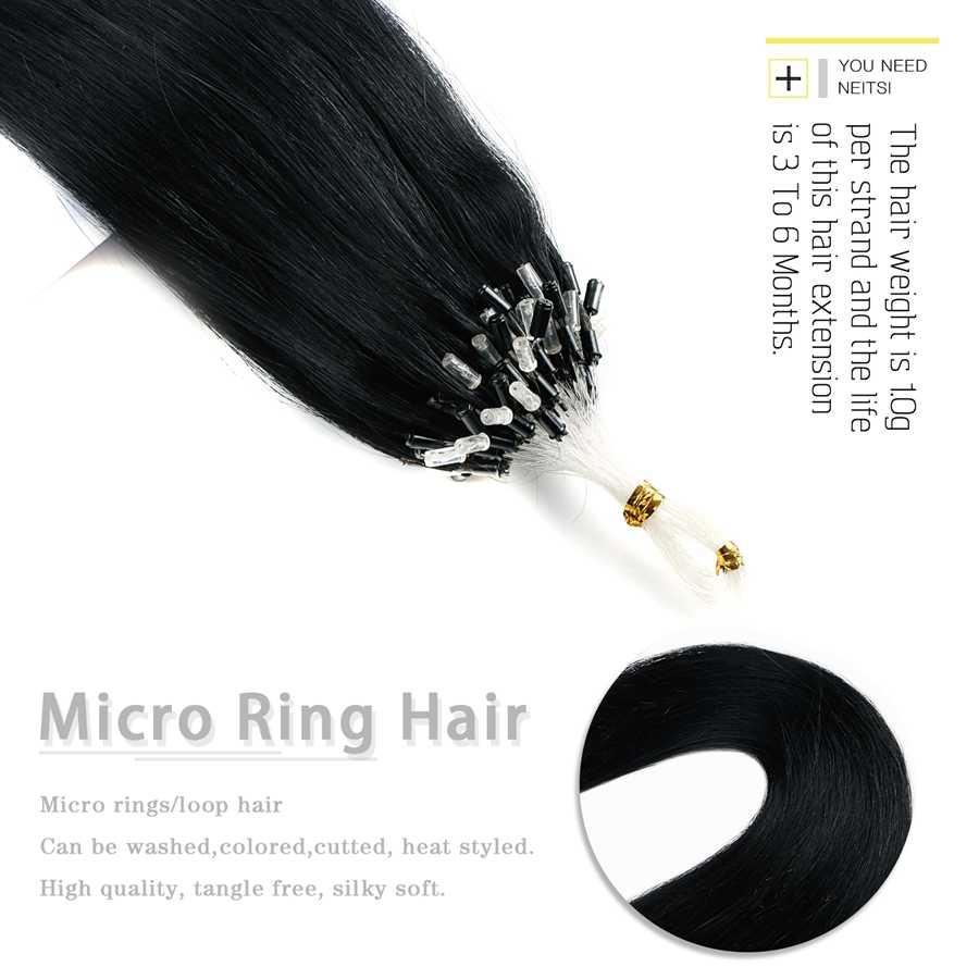 """Neitsi prosta pętla mikro pierścień włosy 100% ludzkie mikro koralik linki maszyna wykonana Remy do przedłużania włosów 16 """"20"""" 24 """"1 g/s 50g 20 kolorów"""