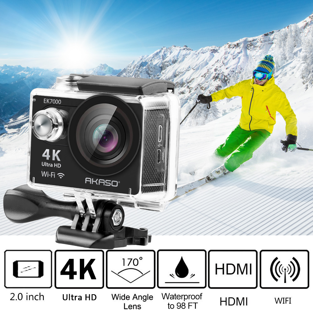 AKASO EK7000/EK5000 4 K WIFI caméra d'action extérieure vidéo Sports extrêmes casque Ultra HD plongée étanche 12MP 170 grand Angle