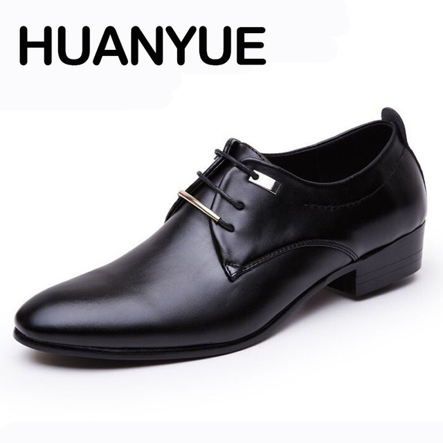593c2ee30 2018 New Men Leather Shoes Pointed Toe Men s Business Shoes Lace-up Mens  Shoes Casual Black Dress Shoes Oxfords For Male Flats