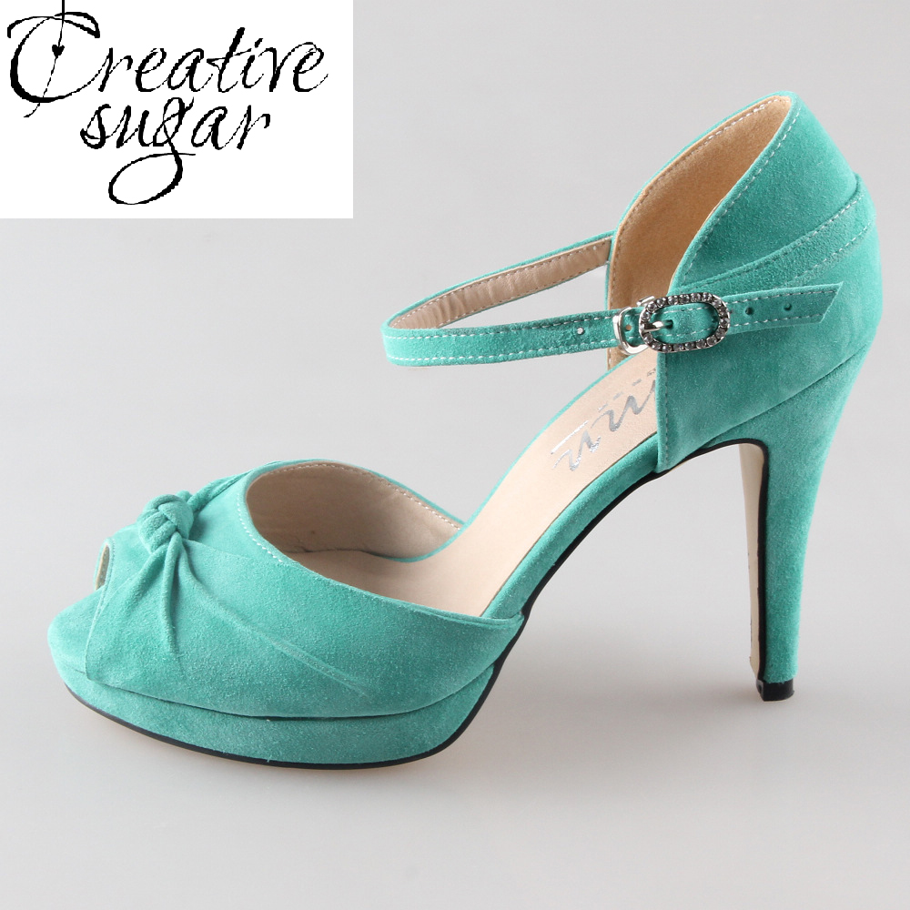 Handmade Light Mint Green Suede Leather Heel Wedding Shoes Knot Peep Open Toe Ankle Strap Sandals