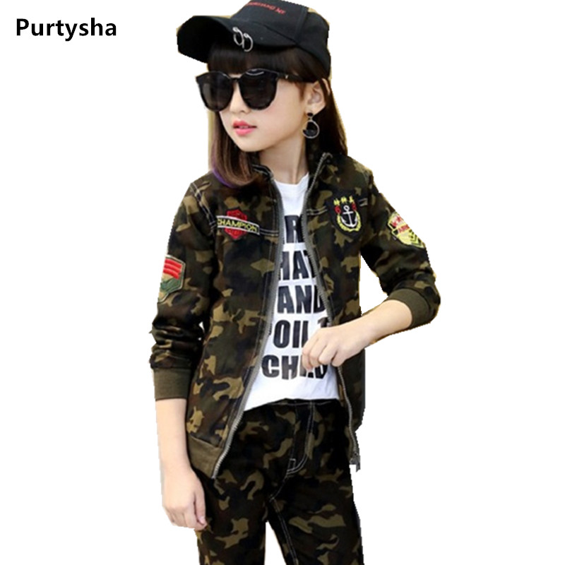Boutique Kids Clothing Spring Autumn Two pieces Sports Suit Camouflage Jacket For Boys Teenage Girls Clothes Set For 6-10 Years 2017 new boys clothing set camouflage 3 9t boy sports suits kids clothes suit cotton boys tracksuit teenage costume long sleeve