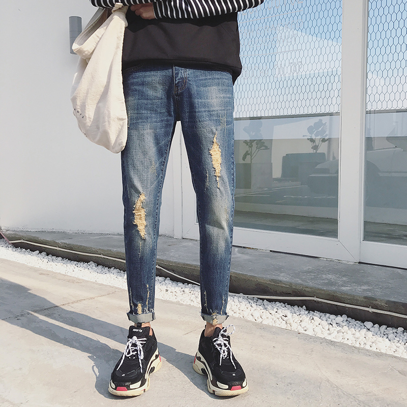 YIXINDA Mens Korean version Cultivate ones morality pencil pants Restoring ancient ways hole Stretch Casual jeans