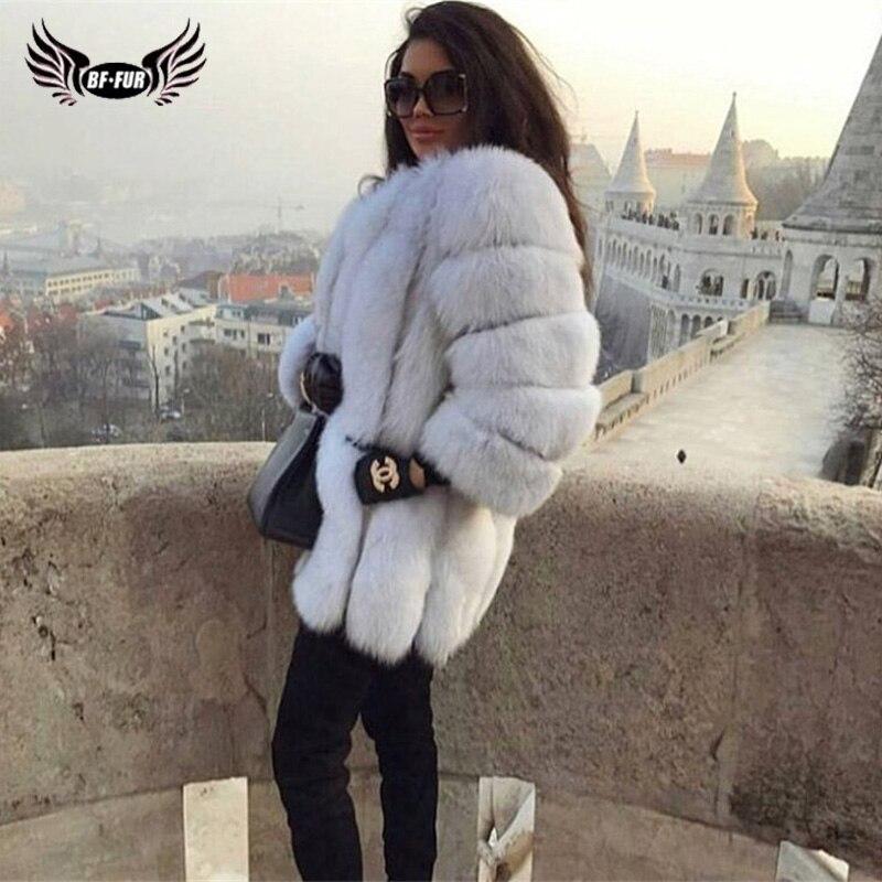 BFFUR 2018 Luxury Womens Winter Coats Natural Fur Fashion Blue Fox Fur Coats For Women Real Arctic Fox Thick Warm Whole Skin