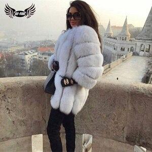 Image 2 - BFFUR 2020 роскошные женские зимние пальто с натуральным мехом, модные синие шубы с лисьим мехом для женщин, настоящая лисица, толстая, теплая, вся кожа