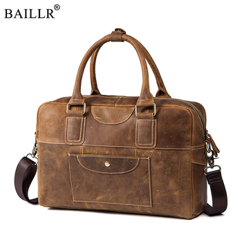 New Design Vintage  Crazy Horse Genuine Leather Men Bag business Men's Briefcases travel Tote Messenger crossbody Bags Handbag