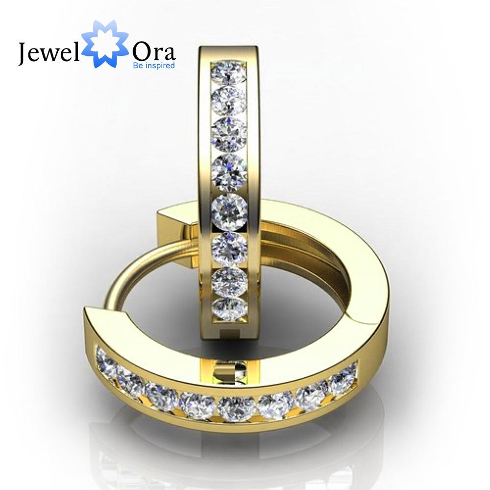 3mm Width 925 Sterling Silver Gold Color Cubic Zirconia Hoop Earrings For Women 1st Anniversary Gift(Jewelora EA101740)