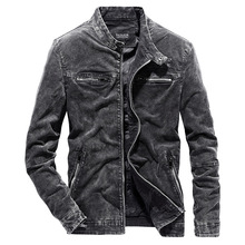 b Autumn and winter new men's jacket casual slim jacket solid color retro denim jacket Stand collar coat Plus Size XS-3XL stand collar plus size 3d flower and leopard print jacket