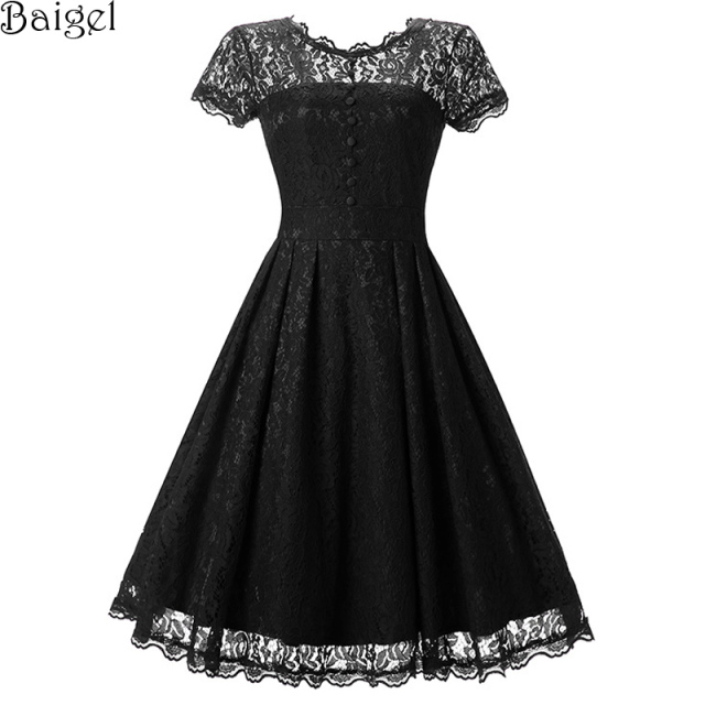 Womens Floral Lace Dress Short Sleeve Burgundy Blue Black Vintage Dresses  50s 60s Pin up Rockabilly Swing Wedding Party Dress 974fc0b61ed8