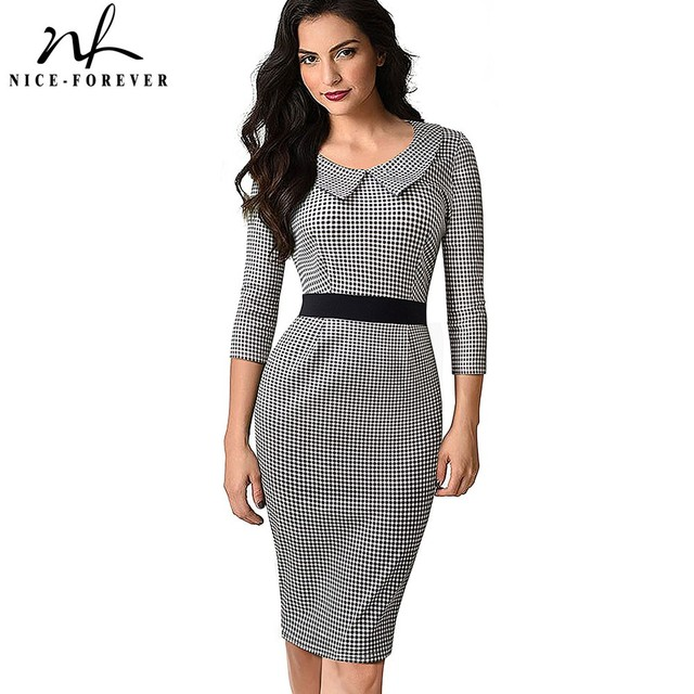 2771c25a7c05 Nice-forever Retro Turn-Down Collar Wear to Work Grid vestidos Business  Party Bodycon Vintage Women Office Dress B470