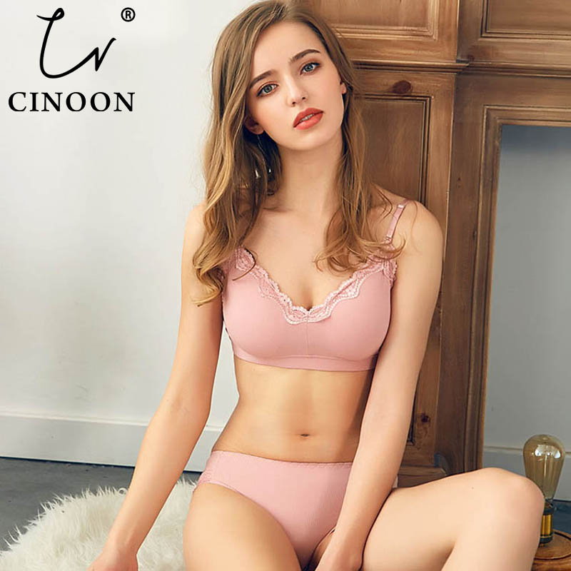CINOON 2019 New Women Fashion Cotton Lingerie Wireless Bras For Women Push Up Bra Set Comfortable Sexy Underwear Free Shipping