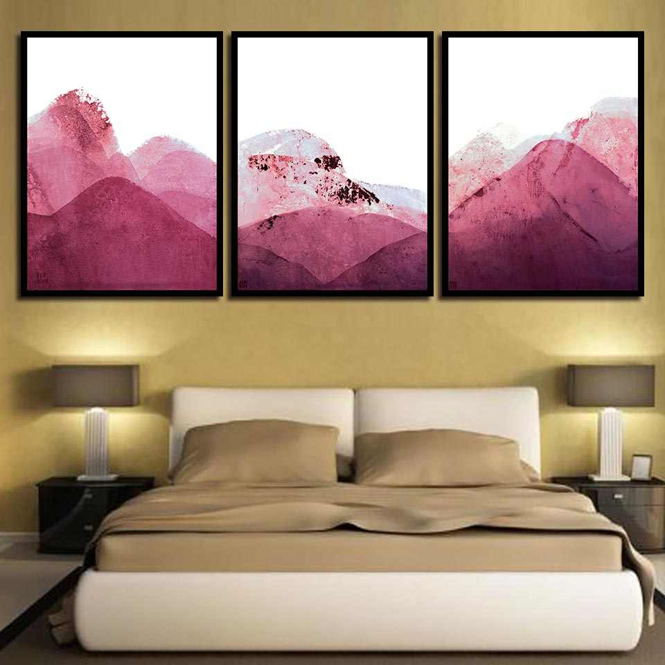 Abstract Pink Mountain Painting Nordic Style Watercolor Canvas Print Pictures Wall Art A4 Poster Living Room Fashion Home Decor