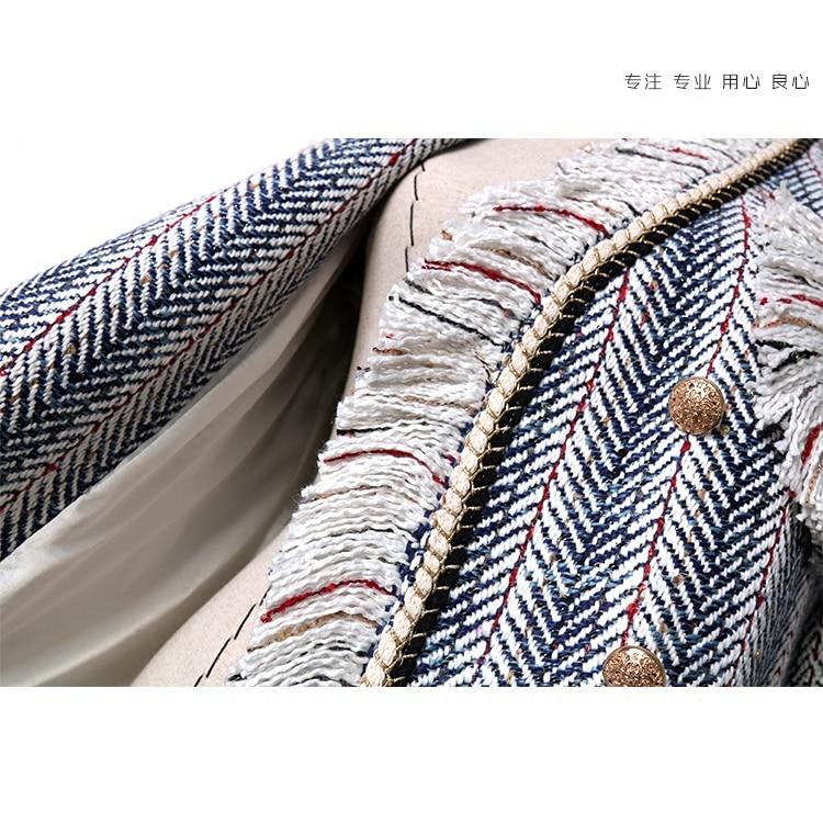 Femmes Dames Blue 2018 Qualité Manteaux Strips Vestes Veste Rayé Piste Tweed Gland Manteau Haute Printemps S8aCg