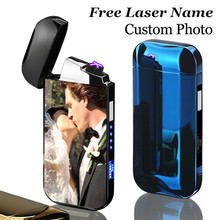 USB Electric Double Arc Lighter Rechargeable Windproof Cigarette Dual Thunder Pulse Cross Plasma Free Laser Name