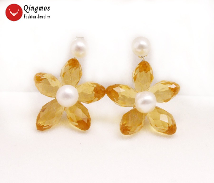 Qingmos Natural 5-6mm White Round Pearl Earrings for Women with Orange Flower Crystal Earring Double Sided Ear Stud Jewelry e707