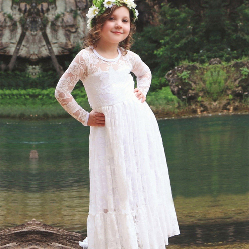 4-12years Girl Full Dress Kids Wedding Bridesmaid Children Girs Dresses Summer Party Princess Costume O-Neck Lace Girls Clothes summer 2017 new girl dress baby princess dresses flower girls dresses for party and wedding kids children clothing 4 6 8 10 year