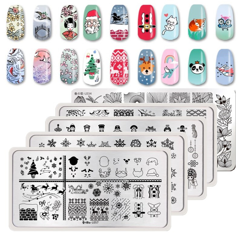 Born Pretty Animal Series Stamping Template Rectangle Panda Nail Art Stamp Stamping Template Stencil Stainles Steel Manicure Too Nails Art & Tools Beauty & Health