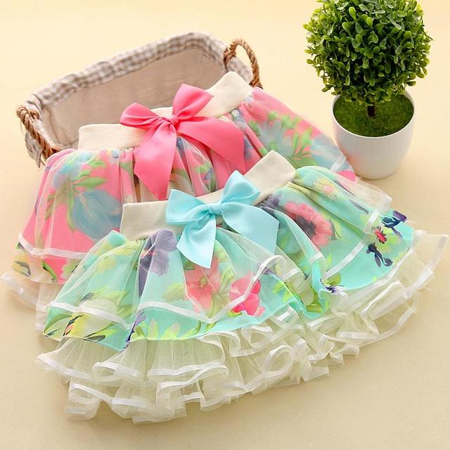 2017 Korean tidal girls chiffon skirts skirt spring and autumn shall bow flower baby gauze skirt cake
