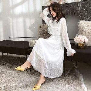 Image 2 - Женское винтажное шифоновое платье Susi & Rita, весеннее вечерние с длинным рукавом и оборками, вечернее платье, летнее Сексуальное Женское пляжное платье, платья, Пляжное Платье