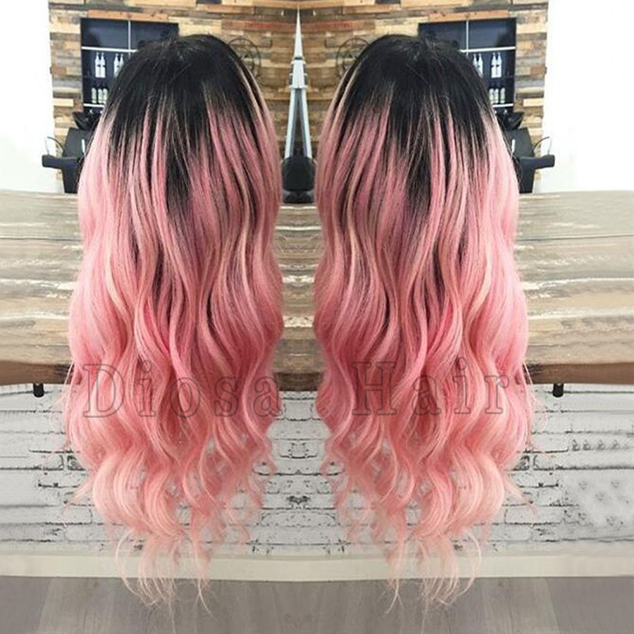 Peruvian Ombre Pink Human Hair Wigs Full Wavy Glueless