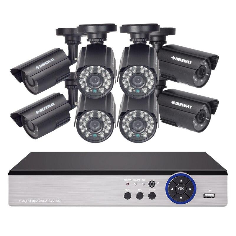 DEFEWAY HD 1080N P2P 8 Canaux CCTV Système Vidéo Surveillance DVR KIT 8 PCS Extérieur IR Nuit Vision 1.0 MP CCTV système
