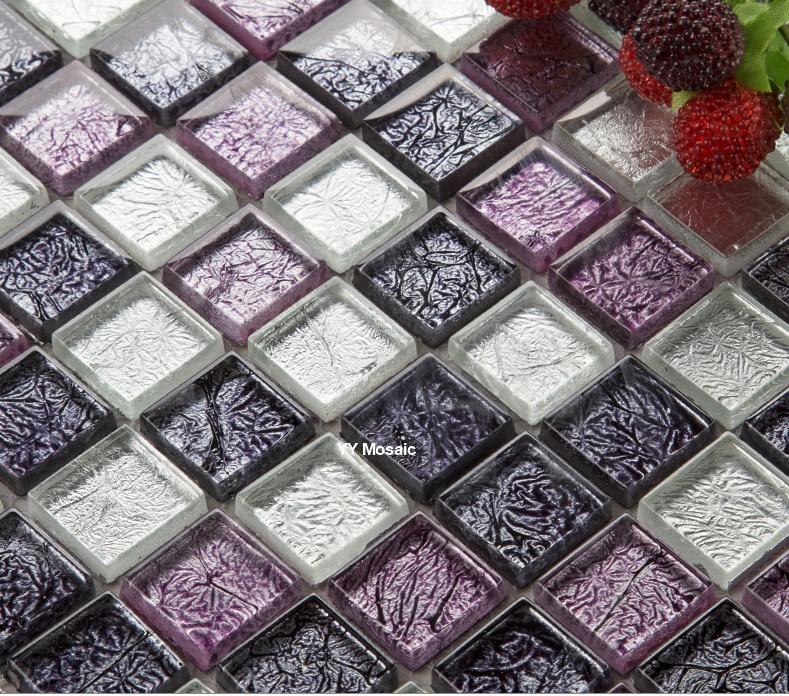Purple Tile Backsplash Glass Mosaic Art Kitchen Tiles: Euro Style Purple Black Silver Foil Crystal Glass Mosaic