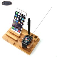 Bamboo Original Stand Charging Dock Station Bracket Accessorie for iPhone 4 4s 5 5s 5c 5SE 6 6plus for watch Socket Freeshipping