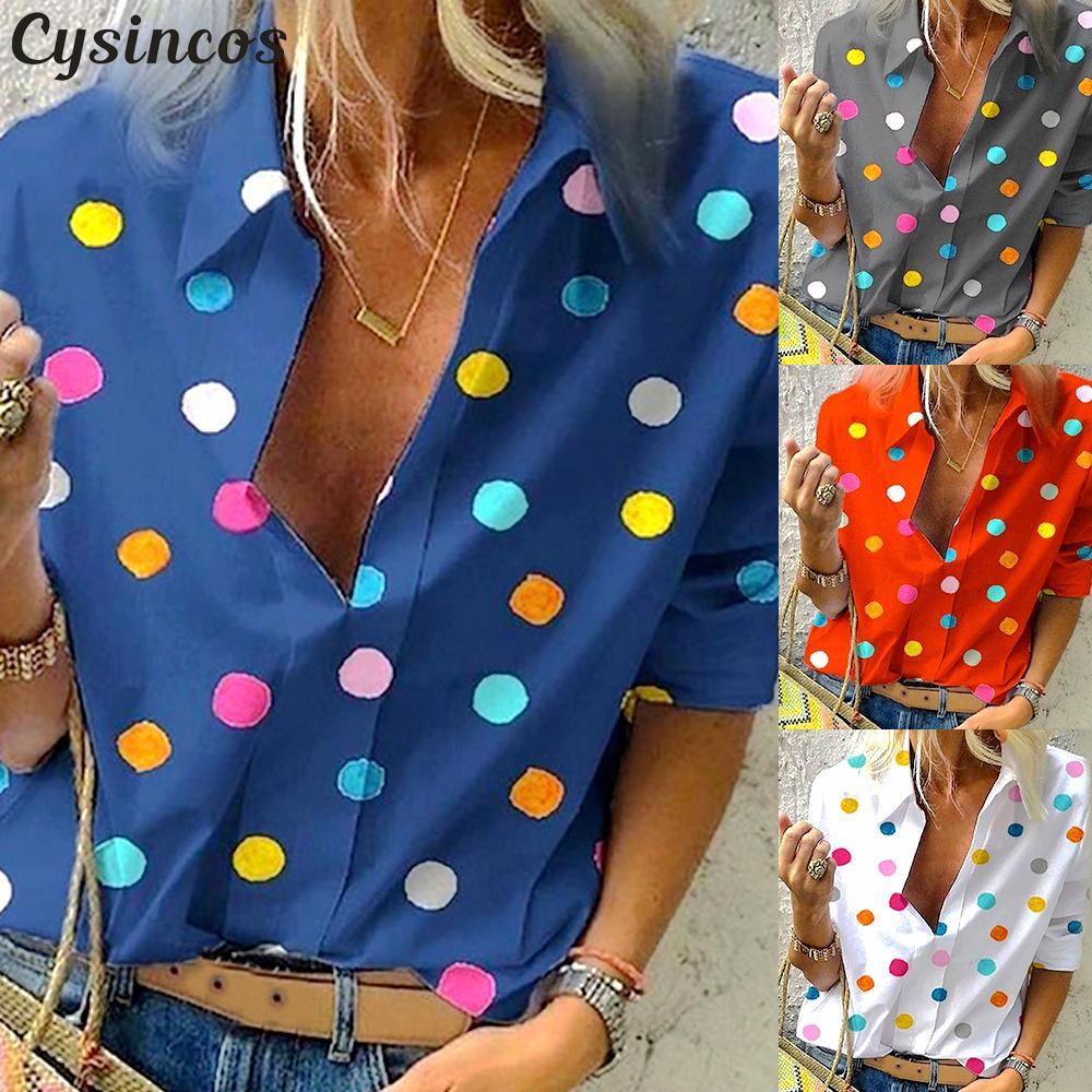 Cysincos Women   Blouses   2019 Fashion Long Sleeve Turn Down Collar   Shirt   Chiffon Office   Blouse   Slim Casual Tops Plus Size S-5XL